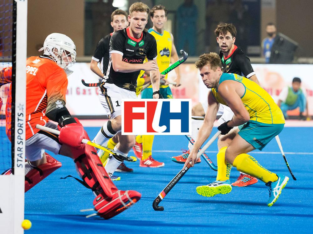 BHUBANESWAR - The Odisha Men's Hockey World League Final . Match ID 05 . Germany  v Australia . keeper Mark Appel (Ger) , Ferdinand Weinke (Ger) and right Aaron Kleinschmidt (Aus) .   WORLDSPORTPICS COPYRIGHT  KOEN SUYK