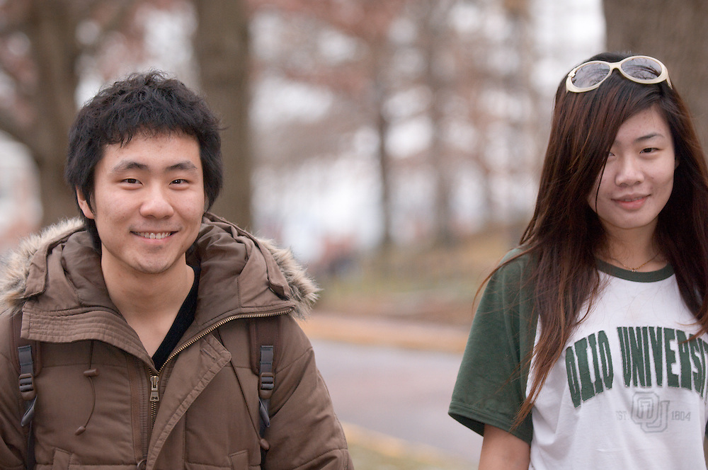 18532Students walking on campus in winter...DZ Chen and Ke Xu Cassie