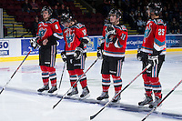 KELOWNA, CANADA - DECEMBER 8:  Mitchell Wheaton #6, JT Barnett #17, Carter Rigby #11, and Colton Heffley #25  line up against the Prince George Cougars at the Kelowna Rockets on December 8, 2012 at Prospera Place in Kelowna, British Columbia, Canada (Photo by Marissa Baecker/Shoot the Breeze) *** Local Caption ***