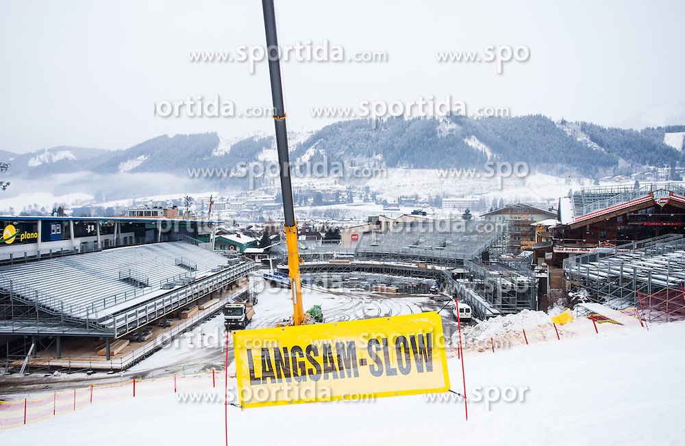 "19.12.2012, Planai, Schladming, AUT, OeSV, Training, im Bild das Zielstadion der Planai mit einem Hinweistransparent ""Langsam- Slow"" // the finifhing area at the planai with a information sign ""slow"" during a practice Session of Austrian Ski Team at the Planai, Schladming on 2012/12/19. EXPA Pictures © 2012, PhotoCredit: EXPA/ Juergen Feichter"