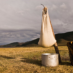 Cheese getting dry outside, Tsagaan Nuur area, Mongolia.