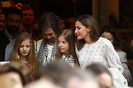 Queen Sofia, Queen Letizia, Princes Sofia, Primncess Leonor, Victoria Maria Federica, Irene Urdangarín attends Billy Eliot the Musical at Nuevo Alcala theater in Madrid, Spain