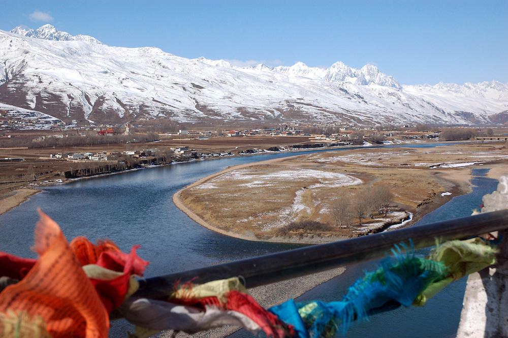 View from Ganzi across the Yalong River - taken March 17, 2008 - Michael Benanav - 505-579-4046
