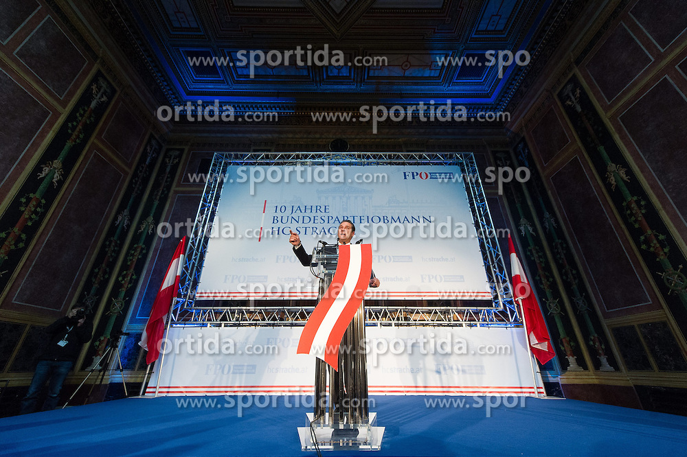 04.05.2015, Parlament, Wien, AUT, FPÖ, Feier anlässlich des 10 jährigen Jubiläums des Bundesparteiobmanns HC Strache. im Bild Klubobmann FPÖ Heinz-Christian Strache // Leader of the parliamentary group FPOe Heinz Christian Strache during 10 years anniversary leader of the parlaimatary group of the austrian freedom party at Parliament in Vienna, Austria on 2015/05/04. EXPA Pictures © 2015, PhotoCredit: EXPA/ Michael Gruber
