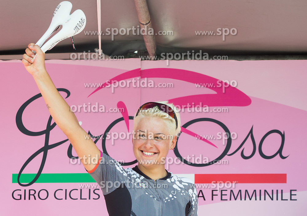 Winner Barbara Guarischi (ITA) of Velocio - SRAM team  during flower ceremony after the Stage 1 (102,5 km) from Kamnik to Ljubljana at 26th Giro Rosa 2015 Women cycling race, on July 4, 2015 in BTC City, Ljubljana,  Slovenia. Photo by Vid Ponikvar / Sportida