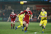 Accrington Stanley  forward Luke Armstrong (39) goes past Bristol Rovers defender Tom Lockyer (4)  during the EFL Sky Bet League 1 match between Accrington Stanley and Bristol Rovers at the Fraser Eagle Stadium, Accrington, England on 12 January 2019.