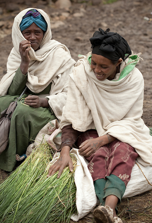 Women selling Guassa grass on Market day in Mehal Meda on the Guassa Plateau in the Ethiopian Highlands