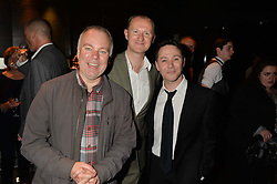Left to right, STEVE PEMBERTON, MARK GATISS and REECE SHEARSMITH at the West End opening night of 'Great Britain' a  play by Richard Bean held at The Theatre Royal, Haymarket, London followed by a post show party at Mint Leaf, Suffolk Place, London on 26th September 2014.