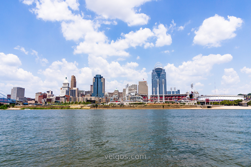 Cincinnati skyline and downtown city buildings including Great American Ballpark, Great American Insurance Group Tower, PNC Tower building, Omnicare building, US Bank building, Carew Tower building, Scripps Center building, and US Bank Area. Photo was taken in July 2012.