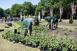 © licensed to London News Pictures. 23/05/2011. London, UK. Gardeners preparing flowerbeds outside Buckingham Palace today (23/05/2011) the day before the arrival of the U.S. President Barak Obama to the UK. Photo credit should read: Ben Cawthra/LNP