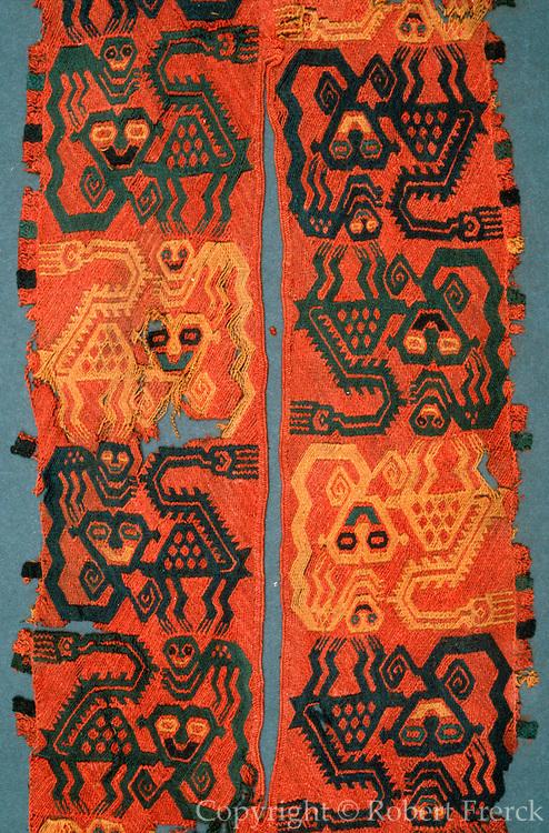 PERU, PREHISPANIC Paracas; funerary wrap, jaguar design