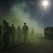 Het FIFA Wereldkampioenschap in Zuid Afrika. De politie oefent op supporters-rellen in de Zuid Afrikaanse stad Port Elizabeth