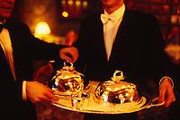 tuxedoed waiters two dishes at Restaurant Alain Ducasse, Paris