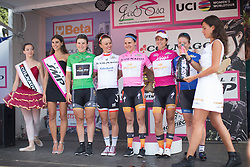 The jersey wearers stand on the podium after the Giro Rosa 2016 - Stage 7. A 21.9 km individual time trial from Albisola to Varazze, Italy on July 8th 2016.