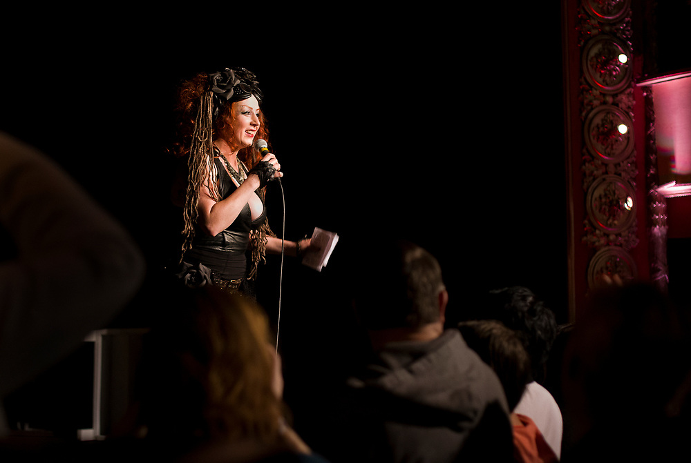 Tamale Sepp, emcee for Fire Ball X: Apocalypse, banters with the crowd at The Majestic Theater in Madison, Wisconsin., Saturday, Jan. 27, 2018.