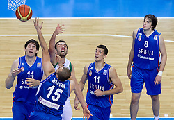 Mirza Begic of Slovenia vs Boban Marjanovic, Milan Macvan, Marko Keselj and Nemanja Bjelica during basketball game between National basketball teams of Slovenia and Serbia in 7th place game of FIBA Europe Eurobasket Lithuania 2011, on September 17, 2011, in Arena Zalgirio, Kaunas, Lithuania. (Photo by Vid Ponikvar / Sportida)