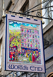 Detail of sign for World's End Pub on Royal Mile in Edinburgh Old Town, Scotland, UK