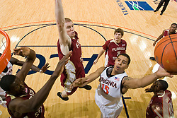 Virginia guard Sylven Landesberg (15) shoots against FSU.  Landesburg at a game high 24 points in the game.  The Virginia Cavaliers fell to the Florida State Seminoles 73-62 in NCAA Basketball at the John Paul Jones Arena on the Grounds of the University of Virginia in Charlottesville, VA on January 24, 2009.
