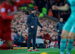 LIVERPOOL, ENGLAND - Saturday, December 29, 2018: Liverpool's manager Jürgen Klopp reacts during the FA Premier League match between Liverpool FC and Arsenal FC at Anfield. (Pic by David Rawcliffe/Propaganda)