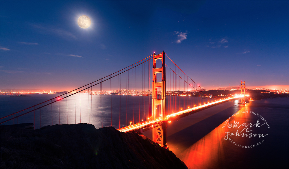 Panorama of the Golden Gate Bridge with full moon rising, San Francisco, California, USA