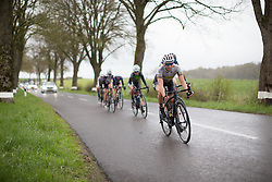 A Topsport Vlaanderen Etixx Cycling Team rider rides at the back of the peloton during the first, 106.9km road race stage of Elsy Jacobs - a stage race in Luxembourg, in Steinfort on April 30, 2016