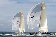 ENGLAND, Cowes, 3rd August 2010. 1851 Cup Regatta. Day 1. TEAMORIGIN and BMW Oracle Racing.