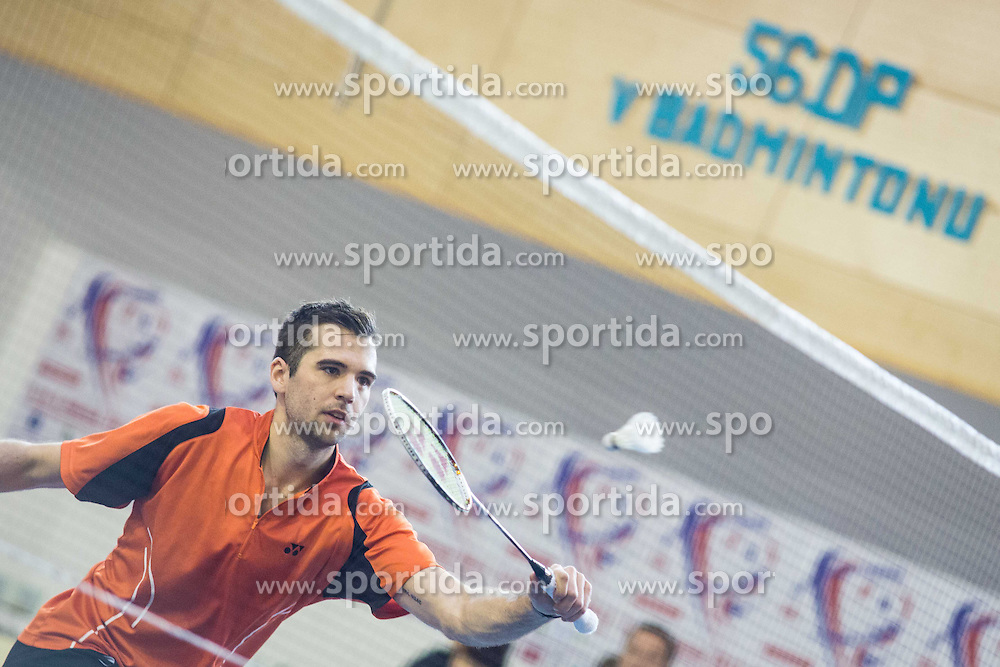 Iztok Utrosa (BK Mladost) during 56th Slovenian national championship in badminton on Februar  3, 2013 in Zg. Kungota, Slovenia. (Photo By Grega Valancic / Sportida)