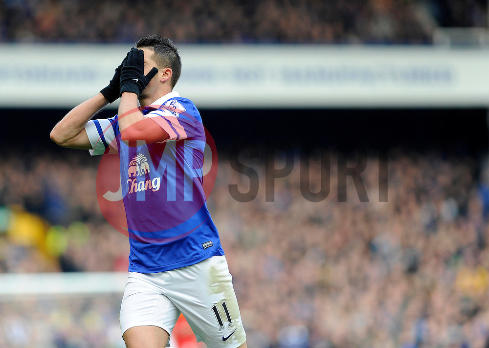 Everton's Kevin Mirallas reacts after coming close to scoring - Photo mandatory by-line: Dougie Allward/JMP - Tel: Mobile: 07966 386802 23/11/2013 - SPORT - Football - Liverpool - Merseyside derby - Goodison Park - Everton v Liverpool - Barclays Premier League