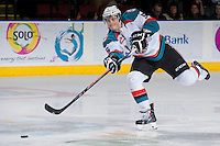 KELOWNA, CANADA -FEBRUARY 8: Dalton Yorke #5 of the Kelowna Rockets makes a pass against the Victoria Royals on February 8, 2014 at Prospera Place in Kelowna, British Columbia, Canada.   (Photo by Marissa Baecker/Getty Images)  *** Local Caption *** Dalton Yorke;