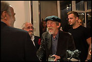 VISCOUNT COWDRAY; MIM SCALA; JOHN HURT, Mim Scala, In Motion, private view. Eleven. Eccleston st. London. 9 October 2014.