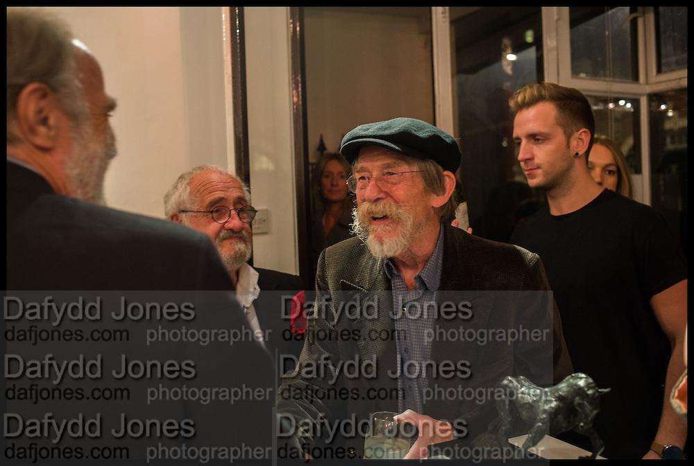 VISCOUNT COWDRAY; MIM SCALA; JOHN HURT, Mim Scala, In Motion, private view. Eleven. Eccleston st. London. 9 October 2014.