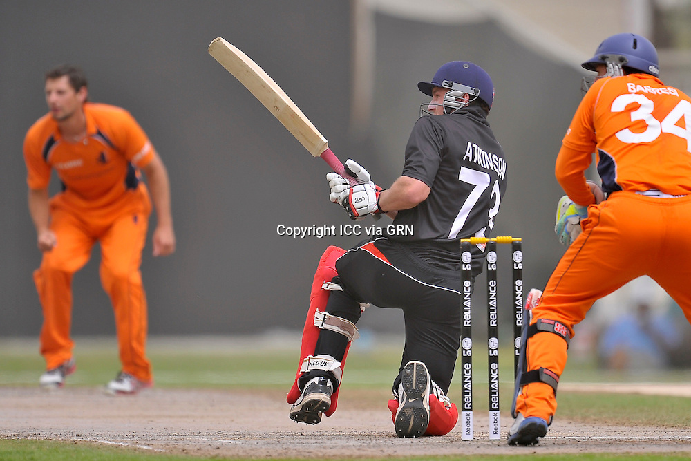 Boundary time for Hk's Captain James John Atkinson at the ICC World Twenty20 Qualifier UAE 2012. Pix ICC/Thusith Wijedoru