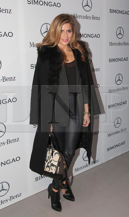 © Licensed to London News Pictures. 18 February 2014, London, England, UK. Pictured: Zoe Hardman. Celebrities attend the Mercedes-Benz sponsored SIMONGAO show during London Fashion Week AW14 at the BFC Courtyard Show Space/Somerset House. Photo credit: Bettina Strenske/LNP