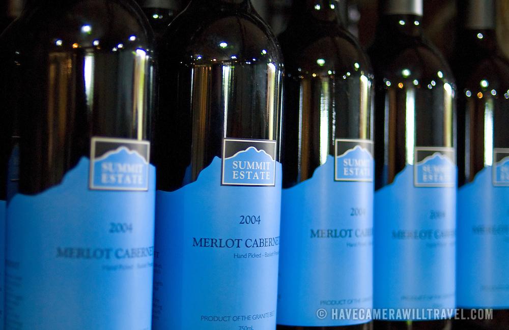 Wine bottles at Summit Estate Winery