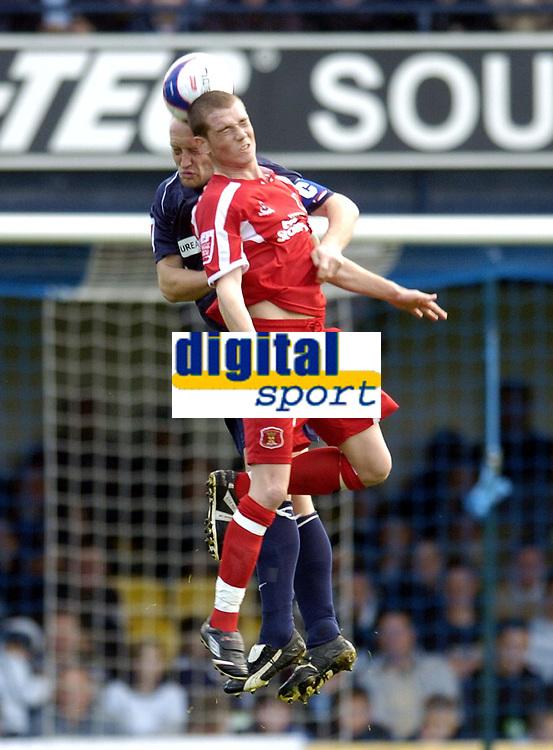 Photo: Olly Greenwood.<br />Southend United v Carlisle United. Coca Cola League 1. 27/10/2007. Southend's Adam Barrett and Carlisle's Peter Murphy