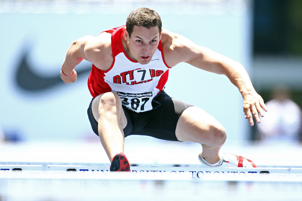 (Toronto, Ontario---26/06/09)   Patrick Arbour competing in  decathlon 110m hurdles at the 2009 Canadian National Track and field Championships. Photograph copyright Claus Andersen / Mundo Sport Images, 2009. www.mundosportimages.com / www.msievents.