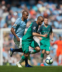 Lucas of Tottenham Hotspur and Fernandinho of Manchester City (L) in action - Mandatory by-line: Jack Phillips/JMP - 20/04/2019 - FOOTBALL - Etihad Stadium - Manchester, England - Manchester City v Tottenham Hotspur - English Premier League