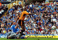 Picture: Henry Browne.<br /> Date: 25/04/2004.<br /> Birmingham City v Wolverhampton Wanderers FA Barclaycard Premiership.<br /> <br /> Carl Cort bundles in Wolves equaliser.