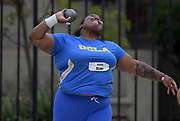 Ashlie Blake of UCLA places second in the shot put at 56-2 (17.12m) during an NCAA college dual meet against Southern California in Los Angeles, Sunday, April 28, 2019.