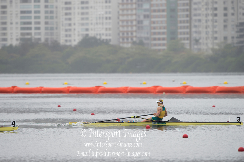 Rio de Janeiro. BRAZIL  AUS Gold medalist, Kimberley BRENNAN  .  2016 Olympic Rowing Regatta. Lagoa Stadium,<br /> Copacabana,  &ldquo;Olympic Summer Games&rdquo;<br /> Rodrigo de Freitas Lagoon, Lagoa. Local Time 10:17:31  Friday  12/08/2016<br /> [Mandatory Credit; Peter SPURRIER/Intersport Images]