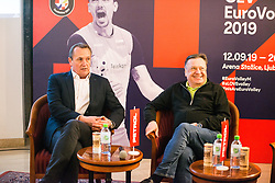 Metod Ropret from OZS, Tomaz Ambrozic and Zoran Jankovic Mayor at Count down ceremony to CEV Euro Volley 2019 in Ljubljana, Slovenia.