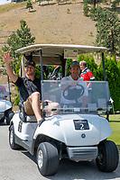 KELOWNA, CANADA - JULY 21: Alumni Damon Severson waves to the camera at the Kelowna Rockets Alumni golf tournament at Black Mountain Golf Club in Kelowna, British Columbia, Canada.  (Photo by Marissa Baecker/Shoot the Breeze)  *** Local Caption ***