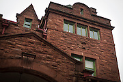 BARABOO, WI – JANUARY 23: Exterior red stone architecture of the Al Ringling Mansion, originally built in 1905.