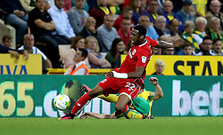 Jonathan Kodjia of Bristol City is tackled by Wesley Hoolahan of Norwich City - Mandatory by-line: Robbie Stephenson/JMP - 16/08/2016 - FOOTBALL - Carrow Road - Norwich, England - Norwich City v Bristol City - Sky Bet Championship