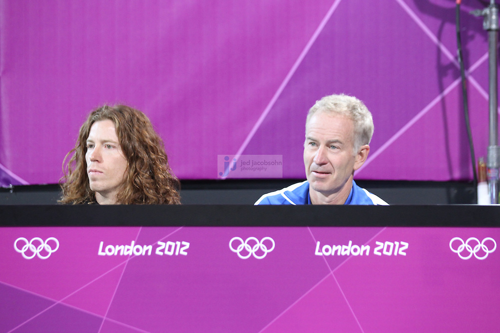 Shaun White and John McEnroe during the Australia and Austria vollyball match at Horse Guards Parade venue during day 3 of the London Olympic Games London, 30 Jul 2012..(Jed Jacobsohn/for The New York Times)....