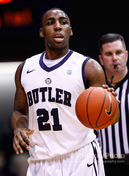 INDIANAPOLIS, IN - JANUARY 19: Roosevelt Jones #21 of the Butler Bulldogs seen during the game against the Gonzaga Bulldogs at Hinkle Fieldhouse on January 19, 2013 in Indianapolis, Indiana. Butler defeated Gonzaga 64-63. (Photo by Michael Hickey/Getty Images) *** Local Caption *** Roosevelt Jones