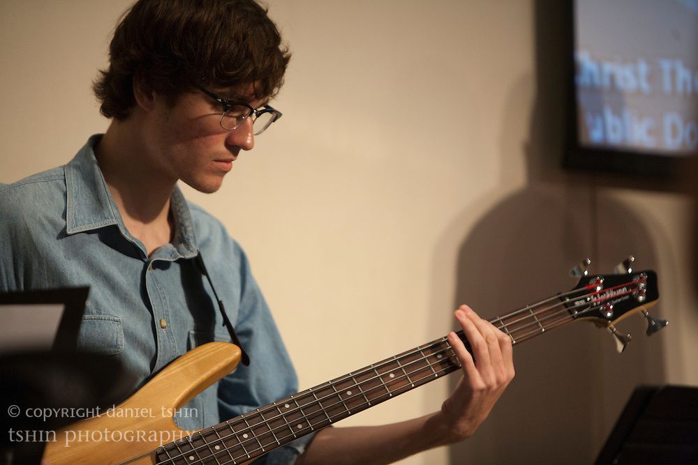 Bassist Coleman Quinley of the worship team leading the Evangelical Church of Bangkok (ECB) during the Easter service on 24 April 2011 in Bangkok, Thailand