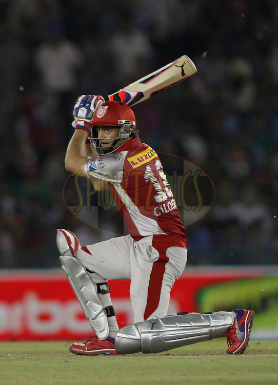 Kings XI Punjab captain Adam Gilchrist play a shot during match 14 of the the Indian Premier League ( IPL) 2012  between The Kings X1 Punjab and The Pune Warriors India held at the Punjab Cricket Association Stadium, Mohali on the 12th April 2012..Photo by Pankaj Nangia/IPL/SPORTZPICS