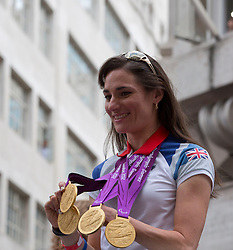 © Licensed to London News Pictures.10/09/2012 LONDON UK.London 2012 Parade of Champions.Sarah Storey OBE winner of four Gold Medals in Cycling ..Olympic and Paralympic  Medalist and  Athelet's from the London2012 Olympic Games are paraded along Fleet St in the Parade of Champions  Photo credit : Andrew Baker/LNP