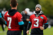 Will Grier (QB) of the Carolina Panthers during the Carolina Panthers training session / press conference held at Harrow School, Harrow, United Kingdom on 11 October 2019.